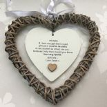 Shabby personalised Chic Special BEST Friend ~ ANY NAME Willow Heart Present BFF - 233008534344